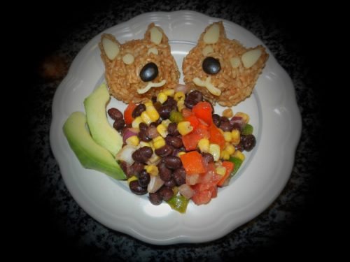Mexican Wolf Onigiri and bean salad