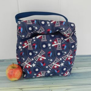 blue baseball lunch bag