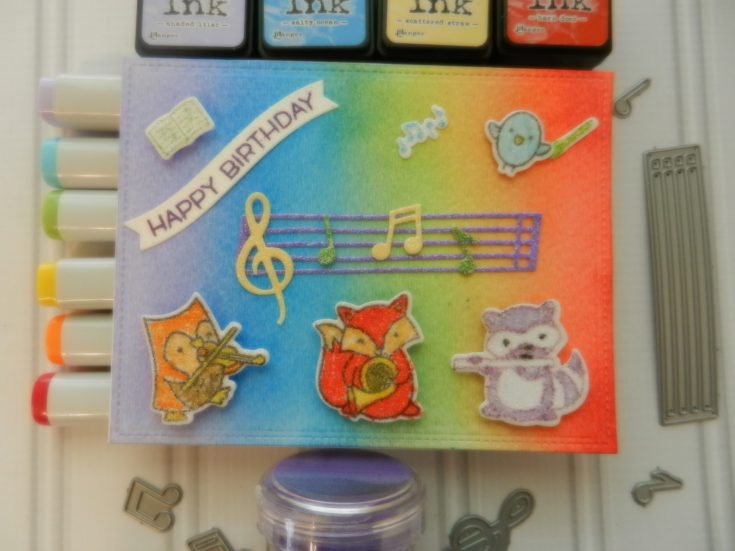 Lawn Fawn Birthday Rainbow Musical Card